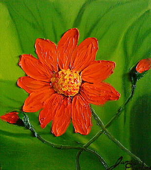 Mexican Red Orange Sunflower 2 by Portland Art Creations