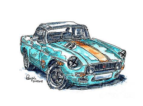 Frank Ramspott - MG Roadster Classic Car Ink Drawing and Watercolor