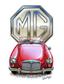 MGA Sports Car in Red by David Kyte