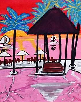 Miami beach painting. original  by Jonathon Hansen