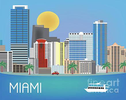 Miami Florida Horizontal Skyline by Karen Young