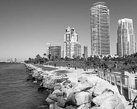 Toby McGuire - Miami Florida Skyline Miami Beach Black and White