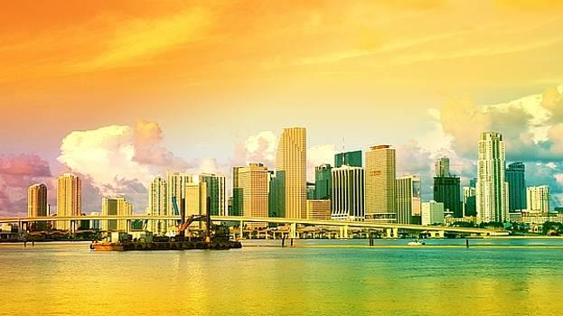 Miami Skyline Sunset by Roland Macias