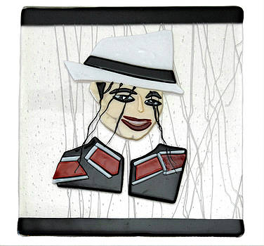 Michael Jackson Fused Glass by Sandy Feder