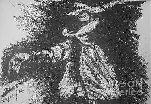 Michael Jackson Oil Pastel Drawing  by Collin A Clarke