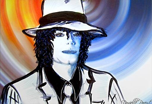 Michael Jackson White Fedora Alcohol Inks by Danielle  Parent