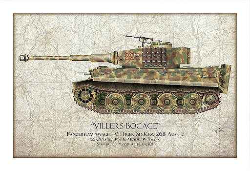 Michael Wittmann Tiger Tank - Map Background by Craig Tinder