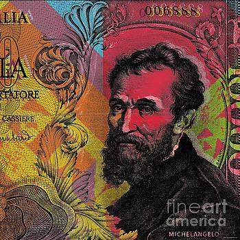 Michelangelo 10000 lire banknote portrait by Jean luc Comperat