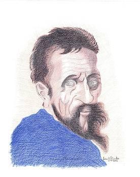 Michelangelo Buonarroti Self Portrait by Bernardo Capicotto