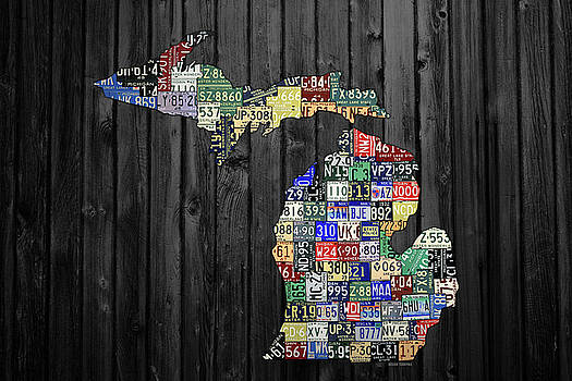 Design Turnpike - Michigan Counties License Plate Map Wide Version on Gray Wood Planks