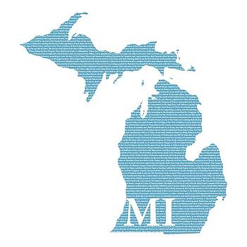 Design Turnpike - Michigan State Map With Text Of Constitution