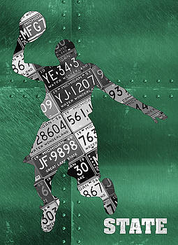 Design Turnpike - Michigan State Spartans Basketball Player Recycled Michigan License Plate Art