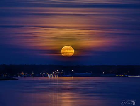 Michigan Super Moon over Muskegon Lake by J Thomas