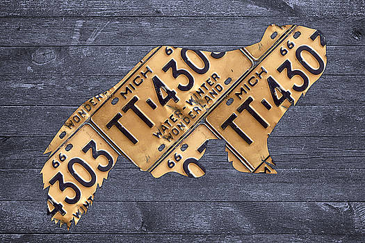 Design Turnpike - Michigan Wolverine State Animal Silhouette Recycled Vintage License Plate Art on Distressed Barn Wood
