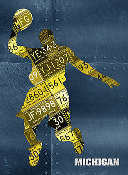Design Turnpike - Michigan Wolverines Basketball Player Recycled Michigan License Plate Art