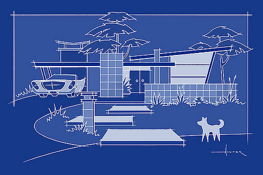 Larry hunter artwork collection industrial design larry hunter mid century blueprint chrysler with white dog malvernweather Image collections