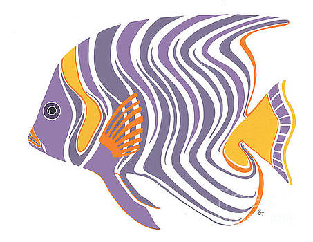 Mid Century Purple Fish by Stephanie Troxell