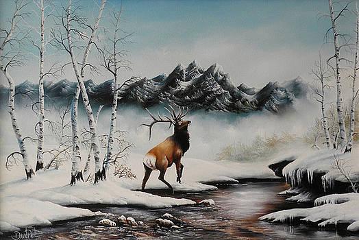 Mid Winter Elk in Snow by David Paul