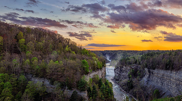 Middle Falls Sunset by Mark Papke