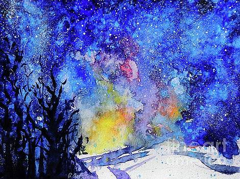 Midnight Galaxy Road watercolour by CheyAnne Sexton