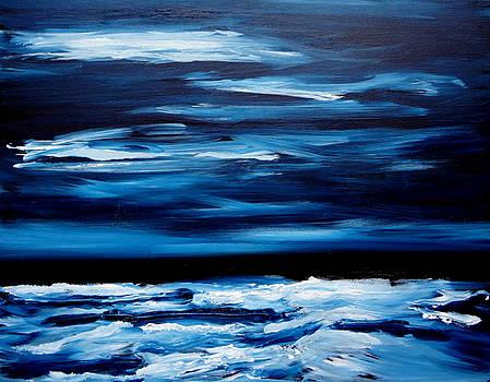 Midnight Ocean Waves Monochrome Painting by Katy Hawk