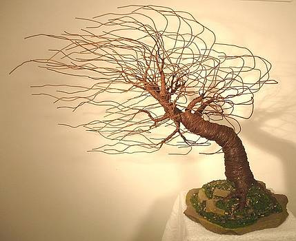 Mighty Wind Swept  - Wire Tree Sculpture    by Sal Villano