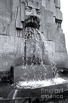 Gregory Dyer - Milan Italy Train Station Fountain in Black and White