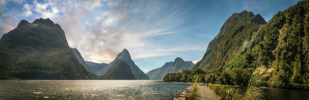 Milford Sound Panorama at golden hour by Daniela Constantinescu