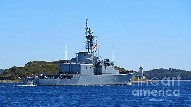 John Malone - Military Ship in Halifax Harbor Passing McNabs Island Lighthouse