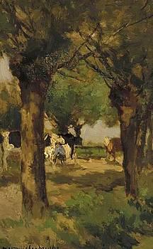 Weissenbruch Johan Hendrik - Milking Cows Underneath The Willows