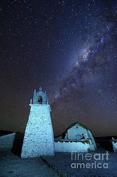 James Brunker - Milky Way above Guallatiri Village Church Chile