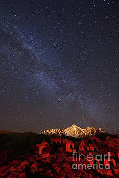 James Brunker - Milky Way Above Mt Huayna Potosi and Milluni Cemetery Bolivia