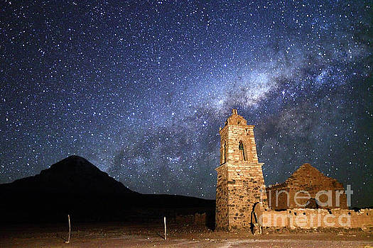 James Brunker - Milky Way above Ruined Church and Sajama Volcano Bolivia