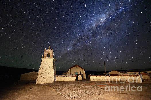 James Brunker - Milky Way and Guallatiri Village Church Chile