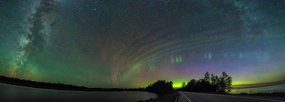 Milky Way and the Northern Lights by Marybeth Kiczenski