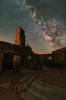 Milky Way Steps At The Crest House Ruins by Mike Berenson