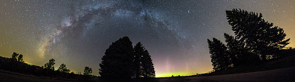 MilkyWay and NorthernLights Pano by Aaron J Groen