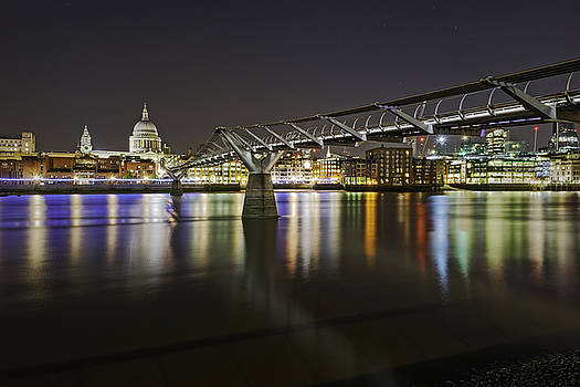 Millenium Bridge and St Pauls at 1 A.M. by Wendy Chapman