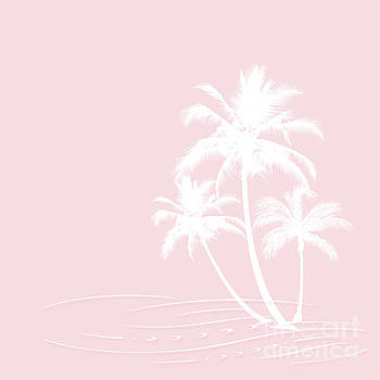 Millennial Pink White Tropical Palm Hawaii by Sharon Mau