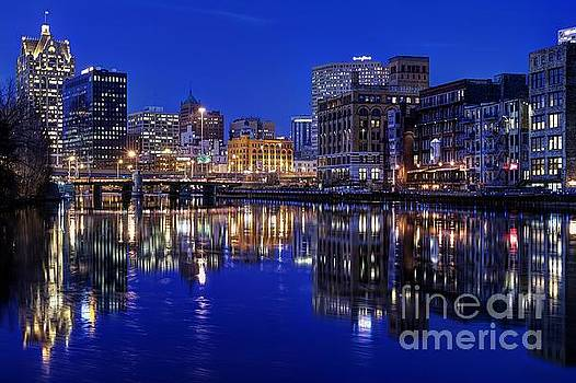 Milwaukee River Twilight Winter by John December