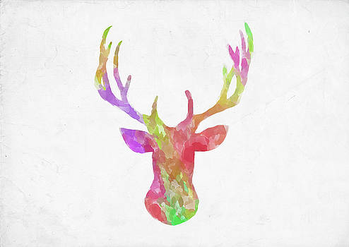 Ricky Barnard - Minimal Abstract Deer Head Watercolor