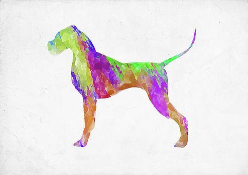 Ricky Barnard - Minimal Abstract Dog Watercolor IX