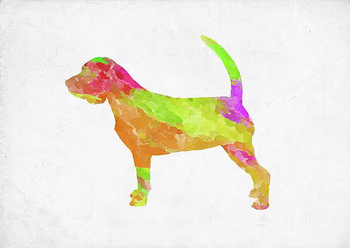 Ricky Barnard - Minimal Abstract Dog Watercolor VI