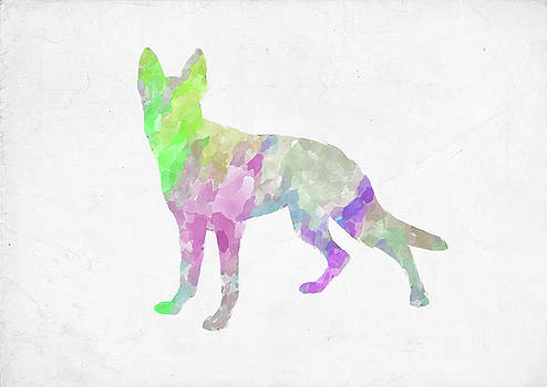 Ricky Barnard - Minimal Abstract Dog Watercolor VII