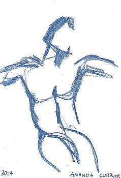 Minimalist Blue Male Figure by Amanda Currier