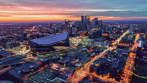 Minneapolis and US Bank Stadium at Dusk by Gian Lorenzo Ferretti