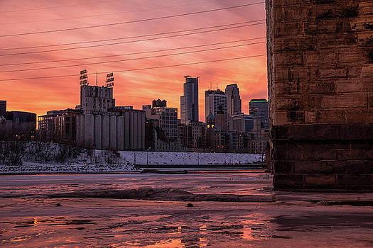Minneapolis at Dusk From Stone Arch Bridge  by Gian Lorenzo Ferretti