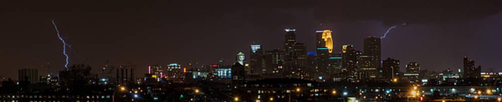 Minneapolis Lightning Skyline by Christopher Broste