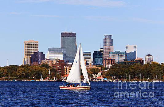 Wayne Moran - Minneapolis Skyline Lake Calhoun Sailing