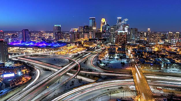Minneapolis Skyline - Traffic at Night by Gian Lorenzo Ferretti